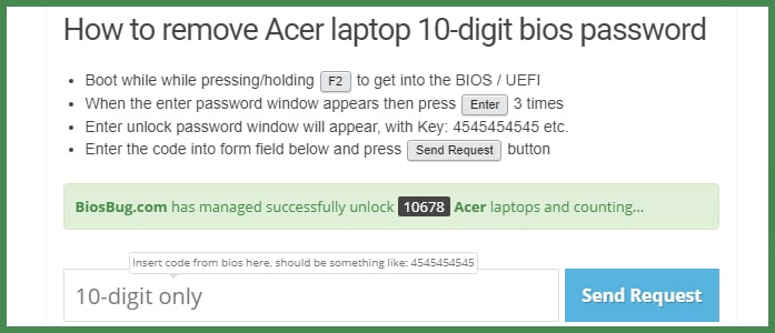 Как сбросить пароль BIOS на ноутбуке Acer