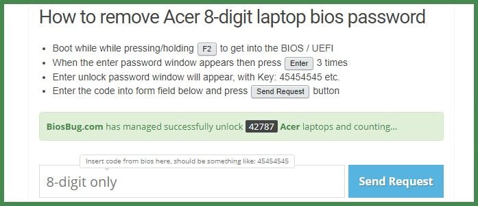 Как удалить или сбросить пароль BIOS на ноутбуке Acer