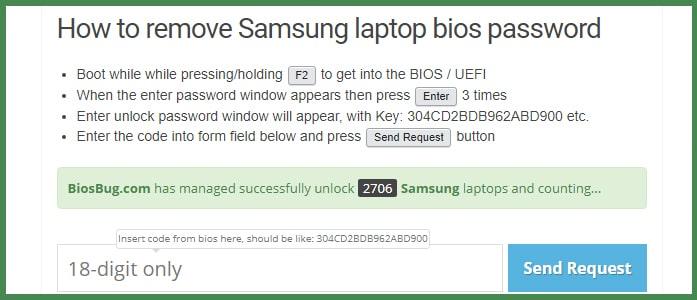 Как удалить пароль BIOS на ноутбуке Samsung